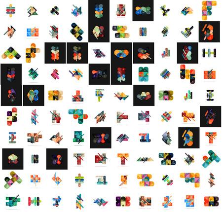 Mega set of infographic templates made of geometric shapes. For banners, business backgrounds, presentations. Vector illustration Vektorové ilustrace