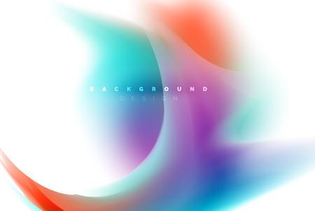 Holographic fluid colors flow, colorful liquid mixing colours motion concept. Vector illustration