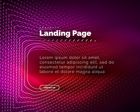 Neon glowing background for landing page. Vector illustration Illustration
