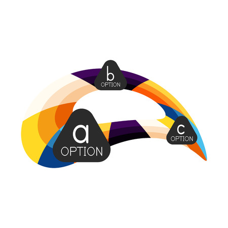 Abstract colorful geometric option infographics design template with sample abc options. Abstract background for business presentation or information banner. Vector illustration