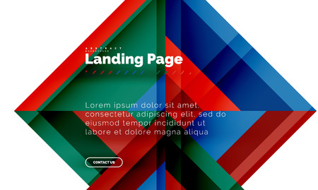Square shape geometric abstract background, landing page web design template. Vector illustration