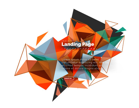 Triangular design abstract background, landing page. Low poly style colorful triangles on white. Vector illustration