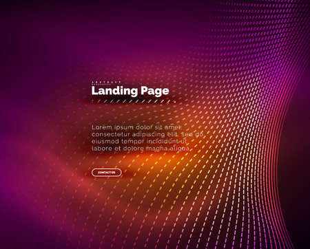 Neon glowing background for landing page. Vector illustration Ilustrace