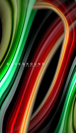 Fondo abstracto de colores fluidos, diseño líquido retorcido sobre fondo de textura de onda de plástico o mármol negro, colorido, plantilla multicolor para presentación de negocios o tecnología o diseño de portada de folleto web, papel tapiz. Ilustración vectorial Ilustración de vector