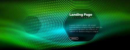Neon glowing techno hexagon shape lines, hi-tech futuristic abstract background, landing page template. Vector illustration