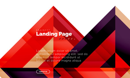 Square shape geometric abstract background, landing page web design template