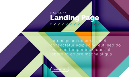 Square shape geometric abstract background, landing page web design template Illustration