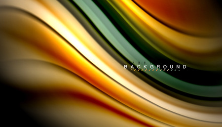 Fluid colors abstract background, twisted liquid design on black, colorful marble or plastic wave texture backdrop, multicolored template for business or technology presentation or web brochure cover layout, wallpaper. Vector illustration 免版税图像 - 111919561