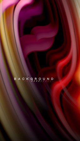 Fluid colors abstract background, twisted liquid design on black, colorful marble or plastic wave texture backdrop, multicolored template for business or technology presentation or web brochure cover layout, wallpaper. Vector illustration