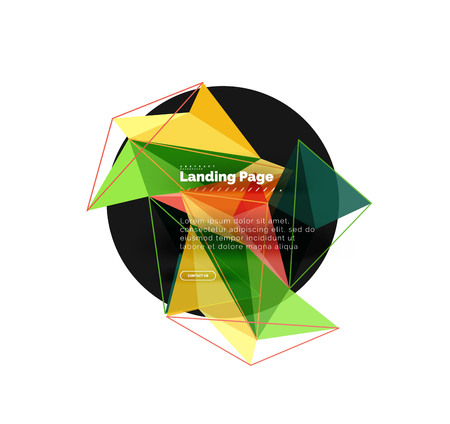 Polygonal geometric design, abstract shape made of triangles, trendy background Ilustração