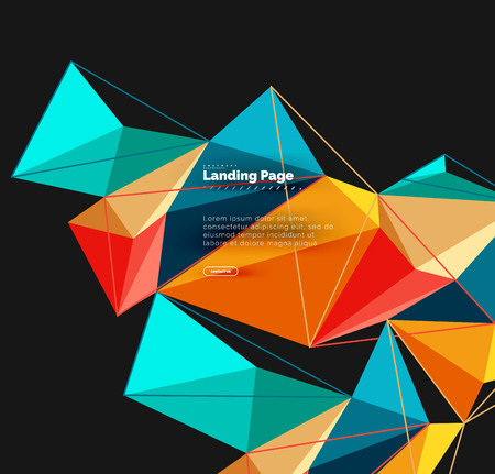 Polygonal geometric design, abstract shape made of triangles, trendy background Ilustrace