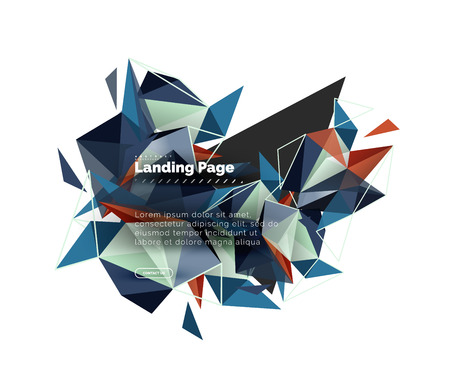 Triangular design abstract background, landing page. Low poly style colorful triangles on white. Vector illustration Illustration