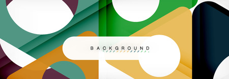 Geometric background, circles and triangles shapes banner. Ilustrace