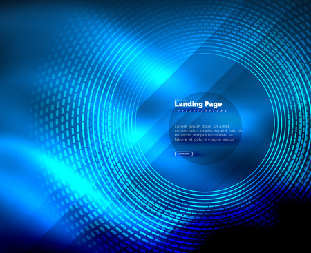 Neon glowing techno lines, hi-tech futuristic abstract background template with circles, landing page template Illustration