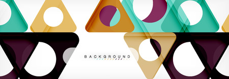 Geometric background, circles and triangles shapes banner. Illustration for business brochure or flyer, presentation and web design layout Çizim