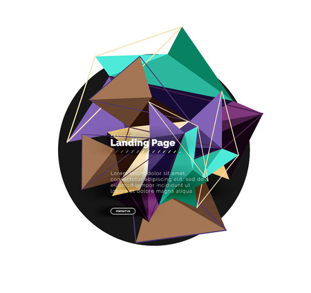 Polygonal geometric design, abstract shape made of triangles, trendy vector background