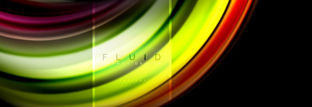 Fluid colors abstract background colorful poster, twisted liquid design on black, colorful marble or plastic wave texture backdrop, multicolored template for business or technology presentation or web brochure cover layout, vector wallpaper