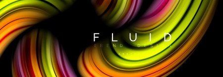 Wave fluid flowing colors motion effect, holographic abstract background. Vector modern illustration