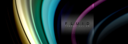 Fluid colors abstract background colorful poster, twisted liquid design on black, colorful marble or plastic wave texture backdrop, multicolored template for business or technology presentation or web brochure cover layout, vector wallpaper 免版税图像 - 107266681