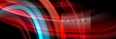 Fluid colors abstract background colorful poster, twisted liquid design on black, colorful marble or plastic wave texture backdrop, multicolored template for business or technology presentation or web brochure cover layout, vector wallpaper 免版税图像 - 107299423