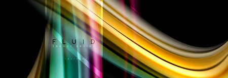 Fluid colors abstract background colorful poster, twisted liquid design on black, colorful marble or plastic wave texture backdrop, multicolored template for business or technology presentation or web brochure cover layout, vector wallpaper 免版税图像 - 107384043