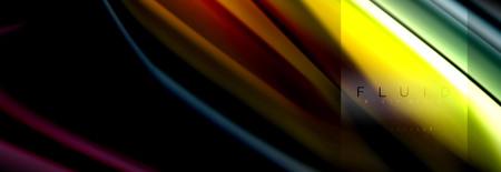 Formes abstraites fluides arc-en-ciel, conception de couleurs liquides, marbre coloré ou fond de texture ondulée en plastique, modèle multicolore pour présentation d'entreprise ou de technologie ou conception de couverture de brochure Web, fond d'écran vectoriel