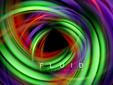 Fluid smooth wave abstract background, flowing glowing color motion concept, trendy abstract layout template for business or technology presentation or web brochure cover, wallpaper. Vector illustration Illustration
