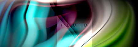 Rainbow fluid abstract shapes, liquid colors design, colorful marble or plastic wavy texture background, multicolored template for business or technology presentation or web brochure cover design, wallpaper Illustration