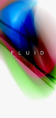 Fluid flowing wave abstract background, vector techno design Standard-Bild - 110219125