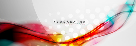Smooth blur wave background, color flow concept on grey, vector illustration