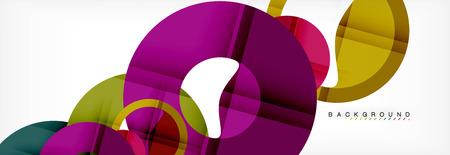 Bunte Ringe auf grauem Hintergrund, modernes geometrisches Musterdesign. Designvorlage für Geschäfts- oder Technologiepräsentationen, Broschüre oder Flyermuster oder geometrisches Webbanner