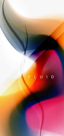 Fluid flowing wave abstract background, vector techno design Standard-Bild - 110135318