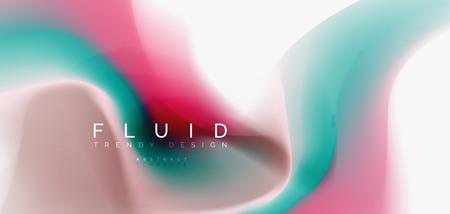 Fluid flowing wave abstract background, vector techno design Vecteurs