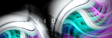 Wave fluid flowing colors motion effect, holographic abstract background. Vector modern illustration Standard-Bild - 109891266