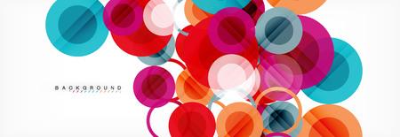 Priorità bassa di disegno di cerchi sovrapposti. Modello di layout astratto alla moda per presentazione aziendale o tecnologia o copertina di brochure web, carta da parati. Illustrazione vettoriale