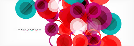 Overlapping circles design background. Trendy abstract layout template for business or technology presentation or web brochure cover, wallpaper. Vector illustration Ilustração Vetorial