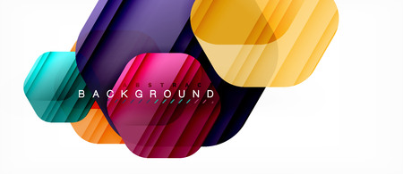 Vector multicolored hexagons geometric abstract background Ilustrace