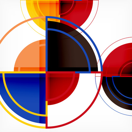 Creative circles geometric abstract background with 3d effect