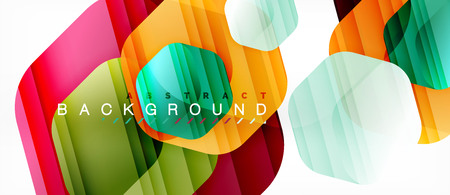 Vector multicolored hexagons geometric abstract background, modern illustration