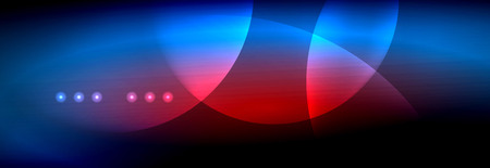 Vector blurred neon glowing circles with flowing and liquid light concept, energy magic fantastic background