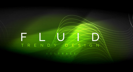 Neon glowing fluid wave lines, magic energy space light concept, abstract background wallpaper design, vector ripple texture illustration