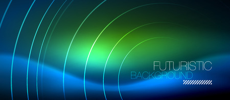 Neon glowing circles background, vector energy magic template