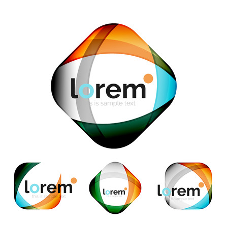 Set of geometric shape convergence logo design templates