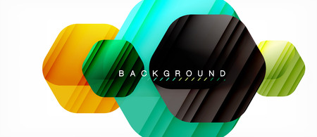 Glossy color hexagons modern composition background, shiny glass design, vector illustration
