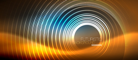 Neon glowing circles background, vector energy magic template Illustration
