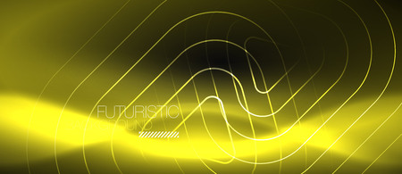 Dark black abstract background with neon colors and lines, vector design