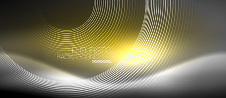 Neon circles abstract background, shiny lines, vector techno design