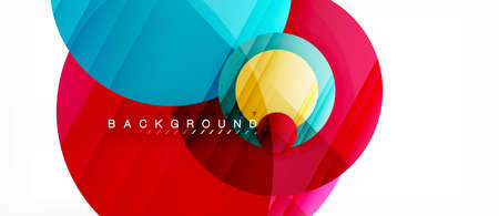 Glossy colorful circles abstract background, modern geometric design, vector illustration.