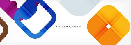Fondo geométrico cuadrado, plantilla multicolor para presentación de negocios o tecnología o diseño de portada de folleto web, papel tapiz de vector. Ilustración de vector