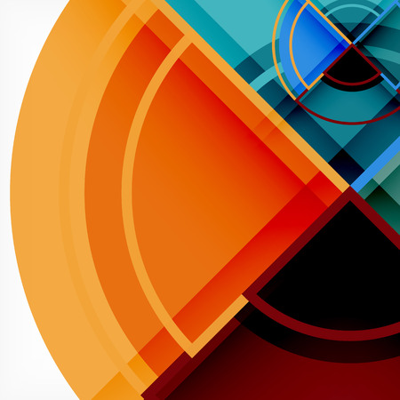Creative circles geometric abstract background with 3d effect Stock Illustratie